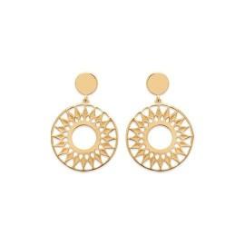 Boucles d'oreilles solaires pendantes en plaqué or, femme - Dybbi