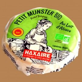 """Petit munster bio au lait pasteurisé 24% de MG """"Le Trésor Lacté"""" HAXAIRE, 220g"""