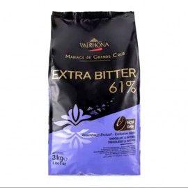 EXTRA BITTER 61% Couverture Couleur Noir Assemblage de Grands Crus, sac de 3kg
