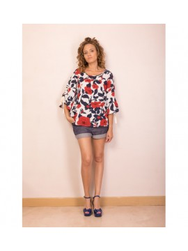 BLOUSE MACAO NAVY FLOWER