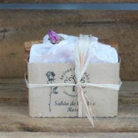 Duo Porte savon bois d'olivier et Savon Naturel Roses