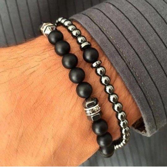 Jules / Bracelets Homme Hématite et zircons