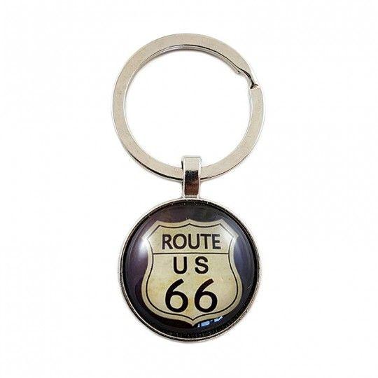 """Porte-clés """"ROUTE US 66"""" / Fond marron"""