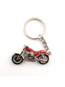 """Porte-clés style Harley Davidson / Rouge et chrome """"CDZOM"""""""