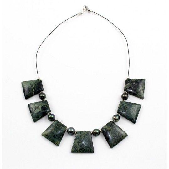 Collier Jaspe vert et perles de Tahiti