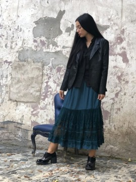 JUPON LONG SUZETTE NAVY - COLLECTION TULLE