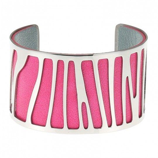 Bracelet manchette ajouré couleur fuchsia