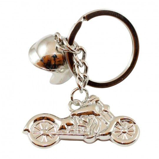"""Porte-clés anneau moto Biker HD et casque jet """"CDZOM"""""""