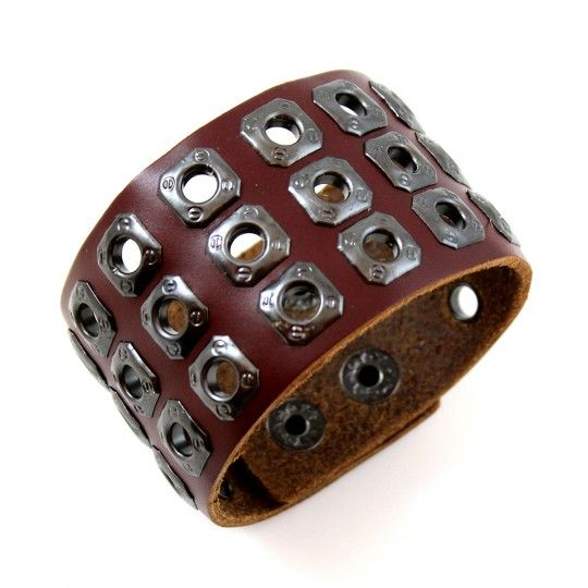 """Bracelet style """"Biker"""" cuir brun ajouré"""