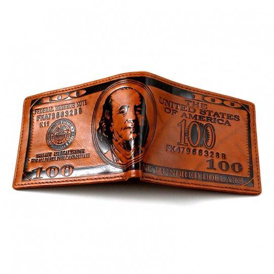 "Portefeuilles ""100 Dollars"" simili cuir brun"
