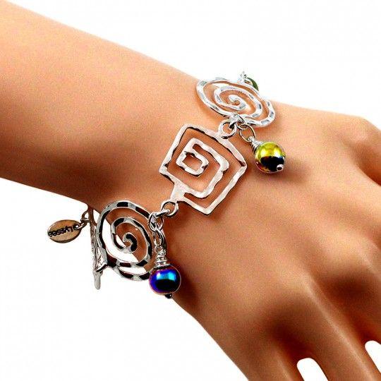 Bracelet argent plaqué et perles d'Hématite irisée