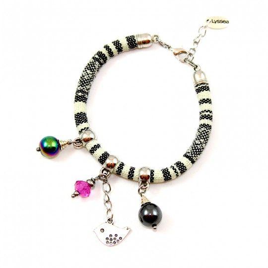 Bracelet coton et perles d'Hématite