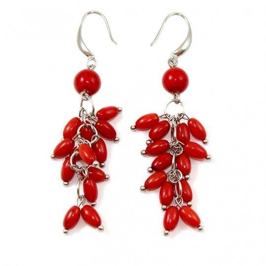 Boucles d'oreilles corail teinte rouge  et argent plaqué