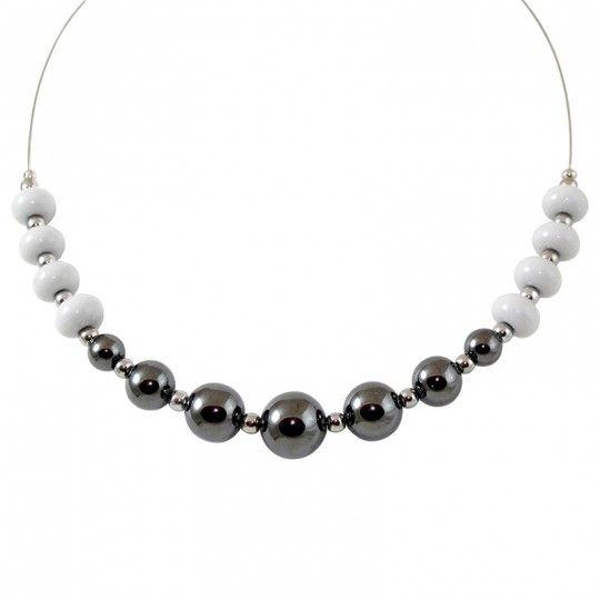 Collier perles d'Hématite anthracite et perles de verre