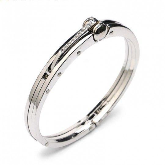 Bracelet - Menotte inoxydable et brillants