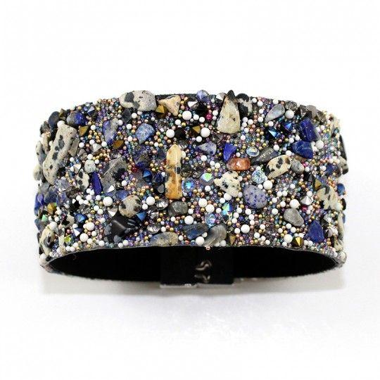 Bracelet manchette micro pierres multicolore