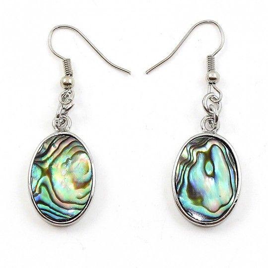 Boucles d'oreilles nacre d'Abalone multicolore