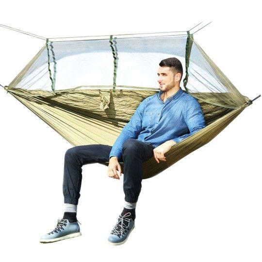Hamac à Moustiquaire en toile de parachute vert armée – Camping et jardin