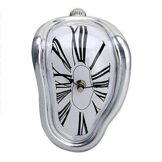 Horloge molle argentée - Montre maison déco