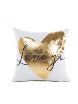 Coussin blanc - Love you doré - Canapé maison déco