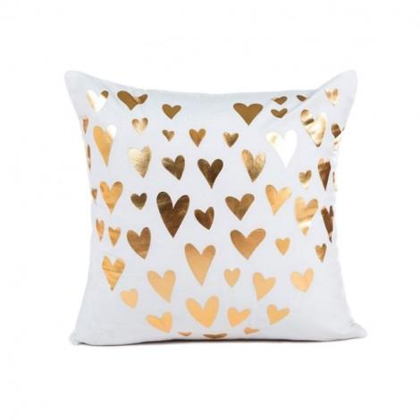 Coussin blanc et petits coeurs dorés - Canapé maison déco