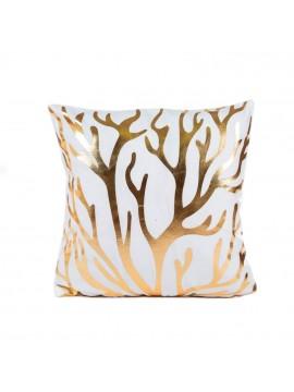 Coussin blanc et branches de corail doré - Canapé maison déco
