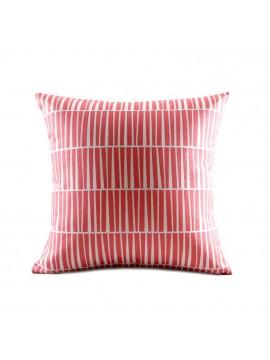Coussin rouge et rayures - Canapé maison déco