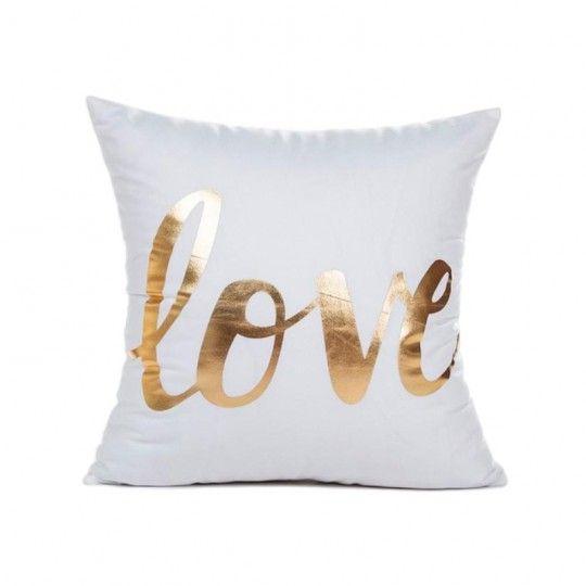 Coussin blanc Love doré - Canapé maison déco