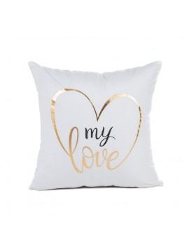 Coussin blanc My Love gold - Canapé maison déco