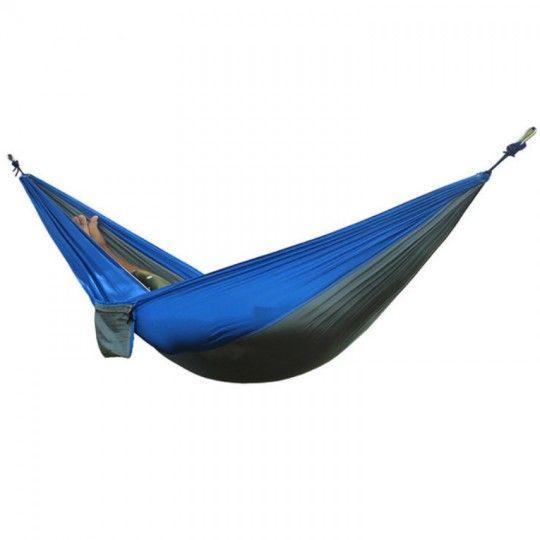 Hamac double en toile de parachute bleu et vert – Camping et jardin