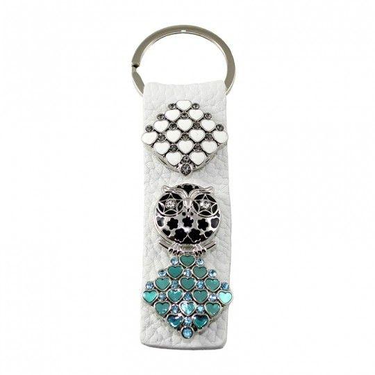 Porte-clés cuir blanc à boutons pression damier coeur hibou