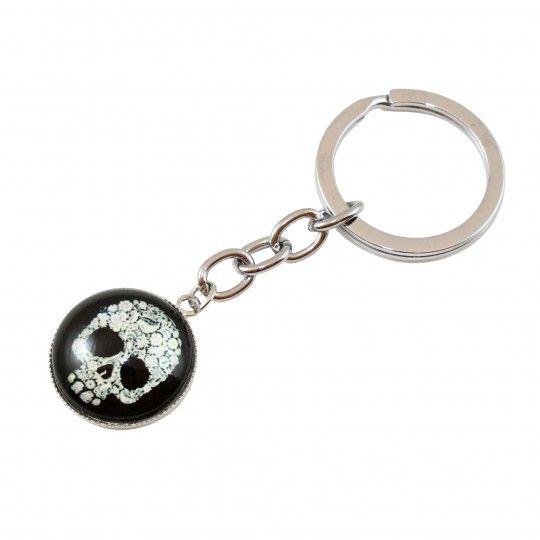 "Porte clés médaillon crâne blanc fleuri ""CDZOM"""