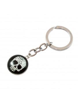 Porte clés médaillon crâne blanc fleuri