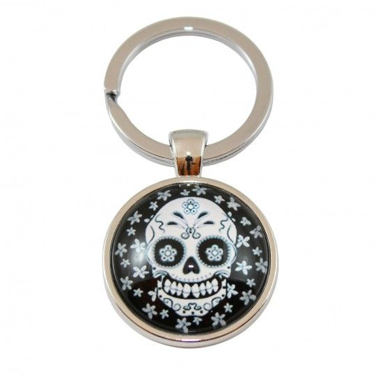 "Porte-clés - Crâne blanc fleuri ""CDZOM"""