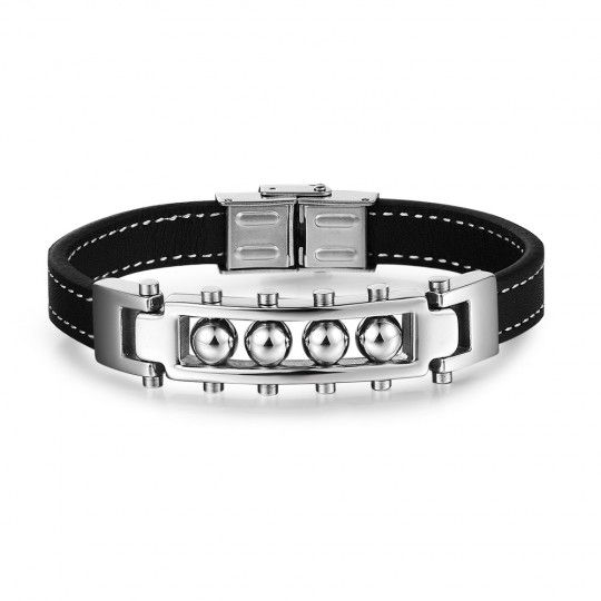 Bracelet homme inox et cuir noir réglable