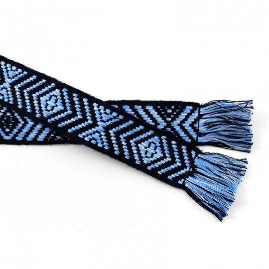 Ceinture coton bleu et noir motif géométrique