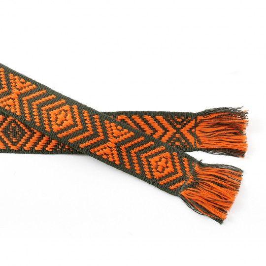Ceinture coton orange et noir motif géométrique