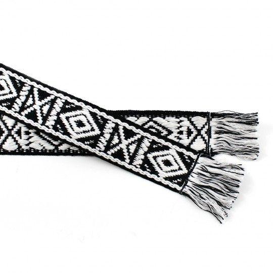 Ceinture coton noir et blanc motif géométrique
