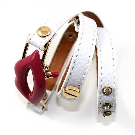 Bracelet cuir blanc multi-tours