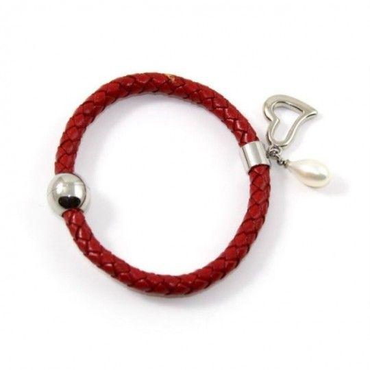 Bracelet cuir rouge et perle