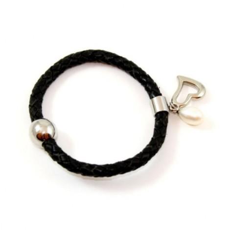 Bracelet cuir noir et perle