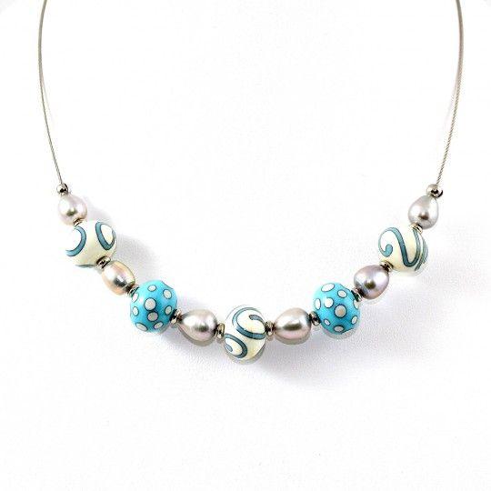 Collier perles d'eau douce et perle bleu ciel