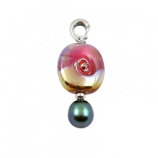 "Pendentif Murano Rose et or - By ""NACRE NOIRE"""