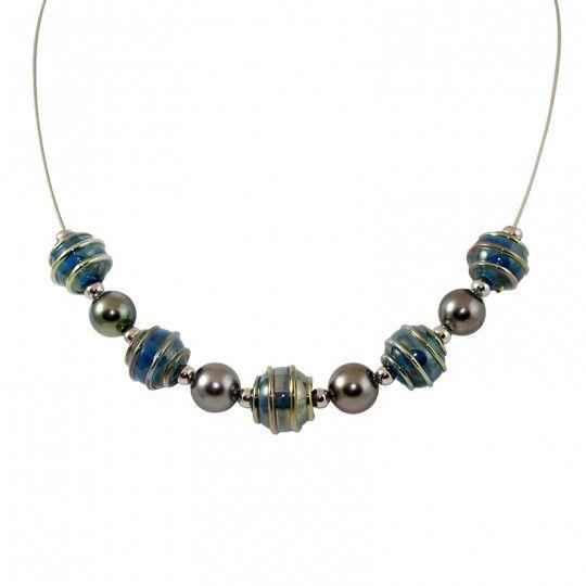 "Collier 4 perles de Tahiti et Murano style - By ""NACRE NOIRE"""