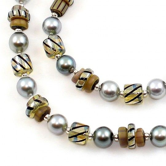 Collier Murano ambre et perles de Tahiti