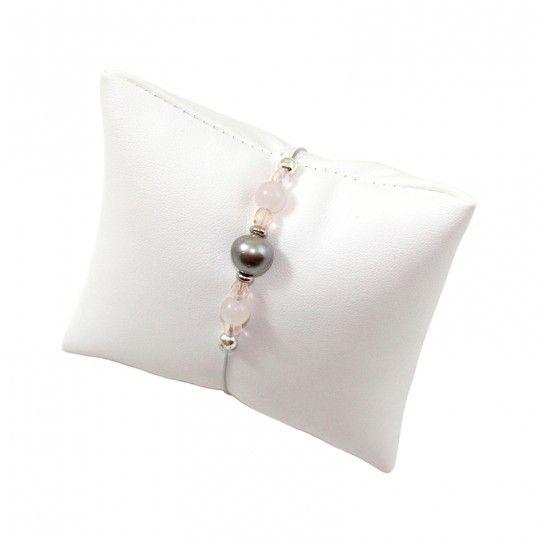 Bracelet perle de Tahiti et cristal rosé