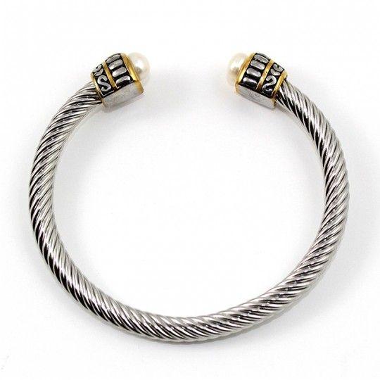 Bracelet jonc torsadé et perles blanches