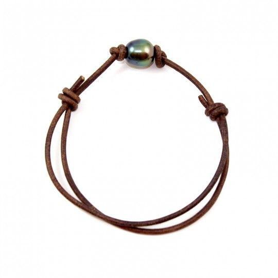 """Bracelet cuir brun avec perle de Tahiti - By """"NACRE NOIRE"""""""