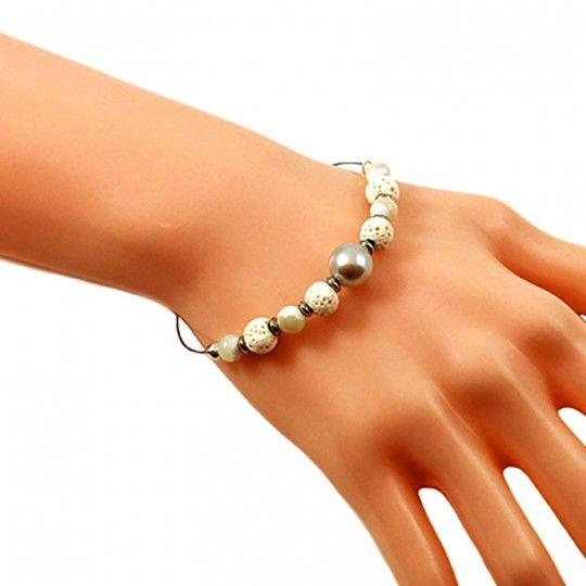 Bracelet perle de Tahiti couleur nacre