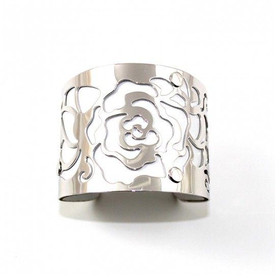 Bracelet manchette argentée et blanc